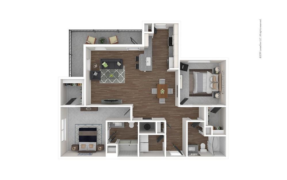 B3 2 bedroom 2 bath 1218 square feet
