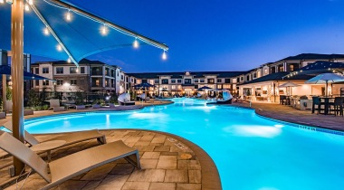 Luxury apartment complex with pool