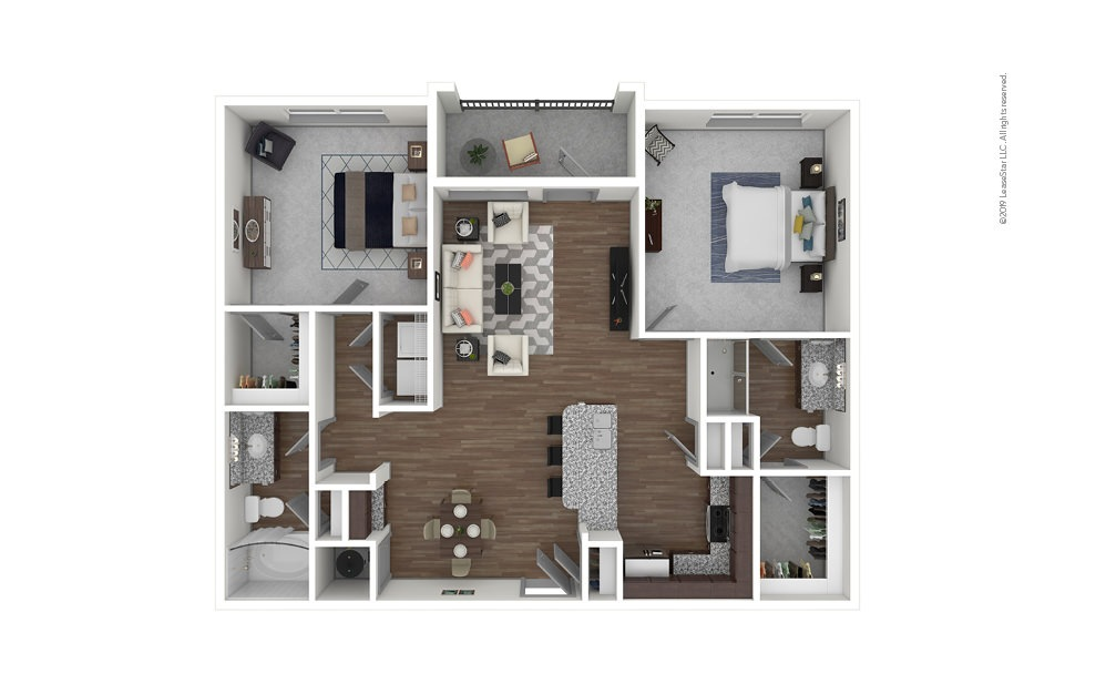 B1 2 bedroom 2 bath 1105 square feet