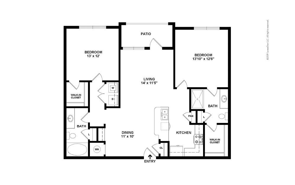 B1 2 bedroom 2 bath 1105 square feet (2)