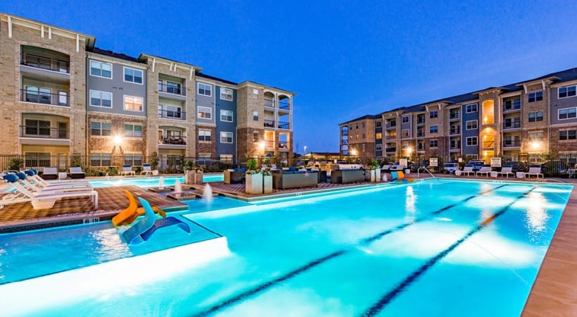 Saltwater pool and sun deck at our apartments in McKinney, TX
