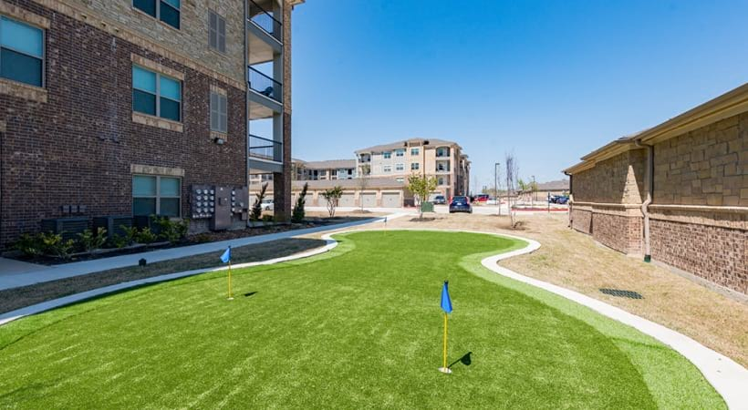 Putting green at our luxury apartments in McKinney, TX
