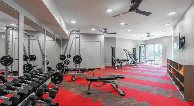 Two-story apartment gym at Cortland Craig Ranch