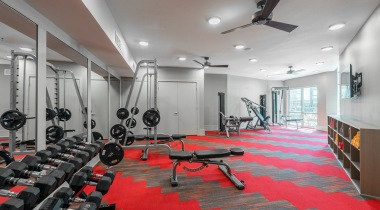 Two-story apartment gym at Cortland Craig Ranch