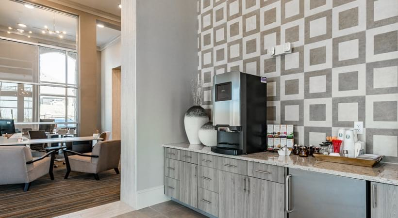 Complimentary coffee bar at our modern apartments near Frisco