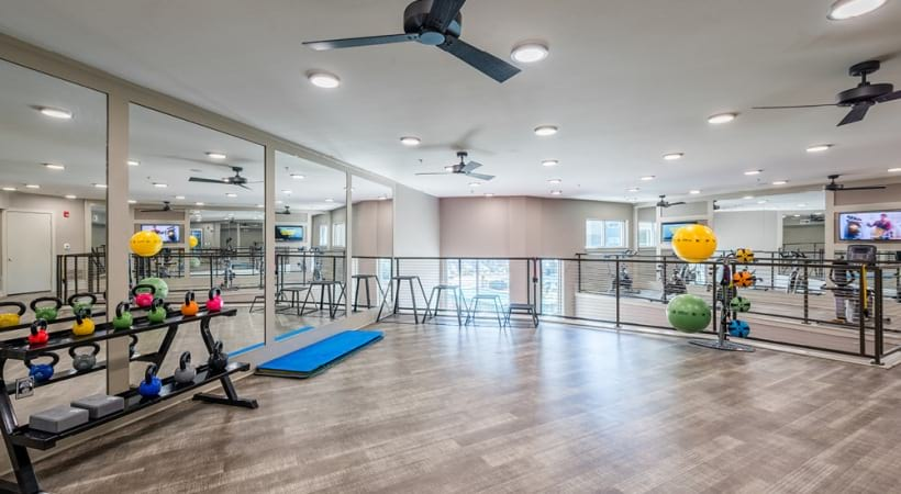 Our McKinney luxury apartment gym with weights