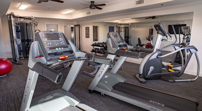 Cardio machines and other fitness equipment at our Grand Prairie senior apartment gym.