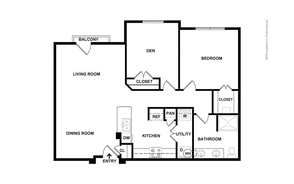 Golden 1 bedroom 1 bath 980 square feet (2)