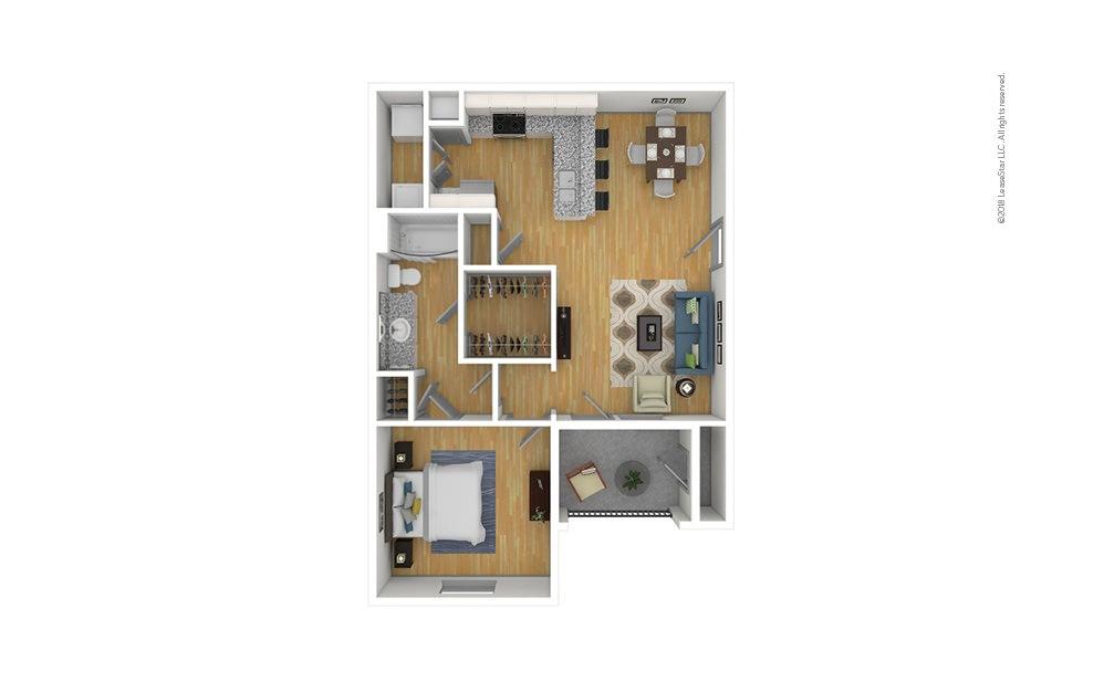 The Cooper 1 bedroom 1 bath 740 square feet