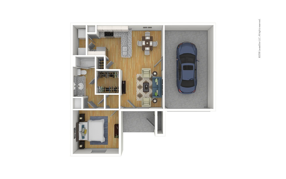 The Cooper 2.0 1 bedroom 1 bath 740 square feet