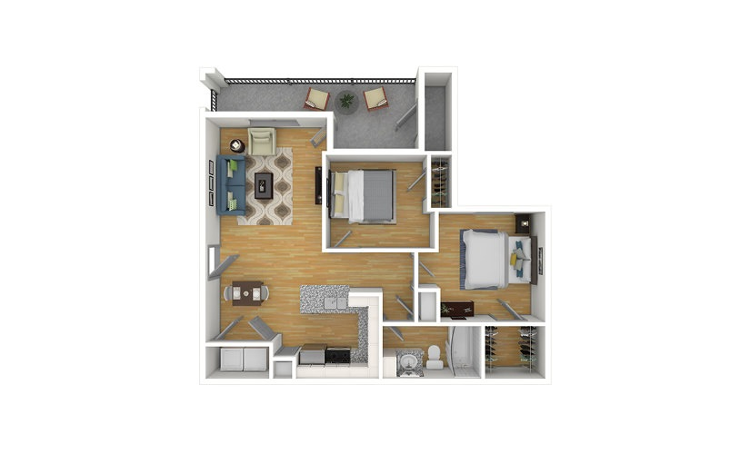 The Hickory 2 bedroom 1 bath 859 square feet