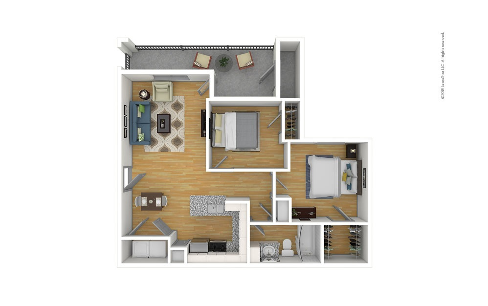 The Hickory 2 bedroom 1 bath 859 square feet