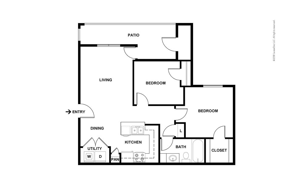The Hickory 2 bedroom 1 bath 859 square feet (2)