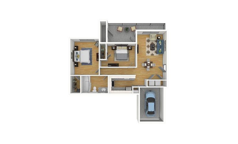 The Hickory 2.0 2 bedroom 1 bath 859 square feet