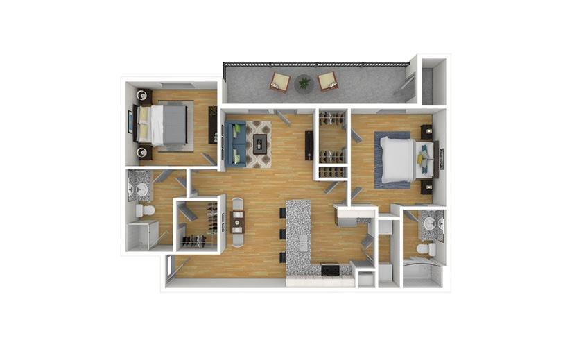The Pecan 2 bedroom 2 bath 950 square feet