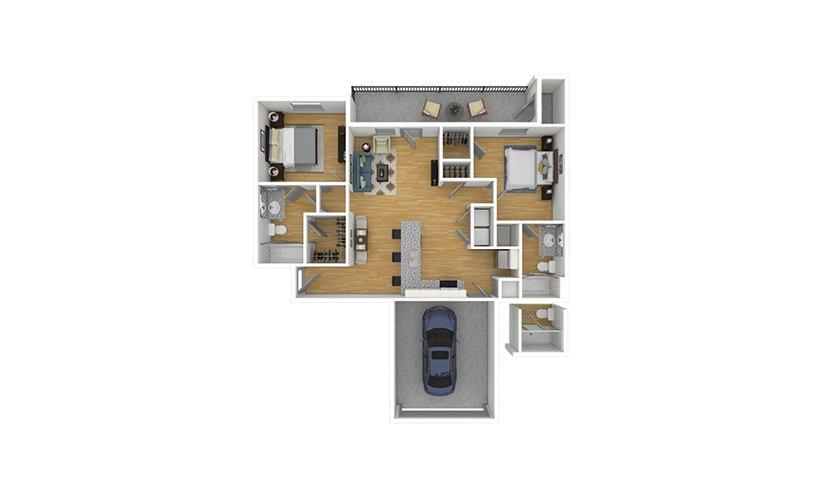 The Pecan 2.0 2 bedroom 2 bath 950 square feet