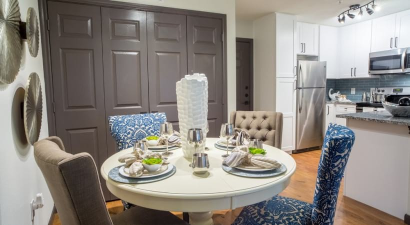 Spacious apartment floor plan with dining area at Attiva Denton