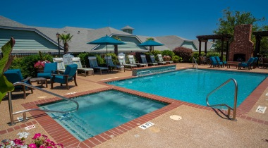 Resort-style pool and heated spa at Attiva Denton