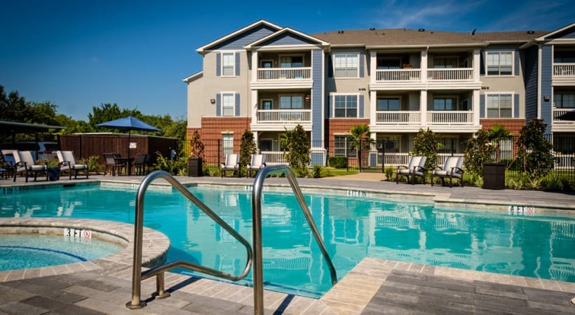 resort style pool at 55 and older apartments in Lewisville, TX