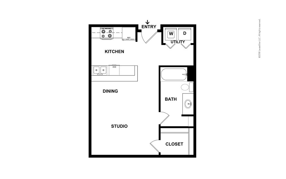 A1 Studio 1 bath 484 square feet (2)
