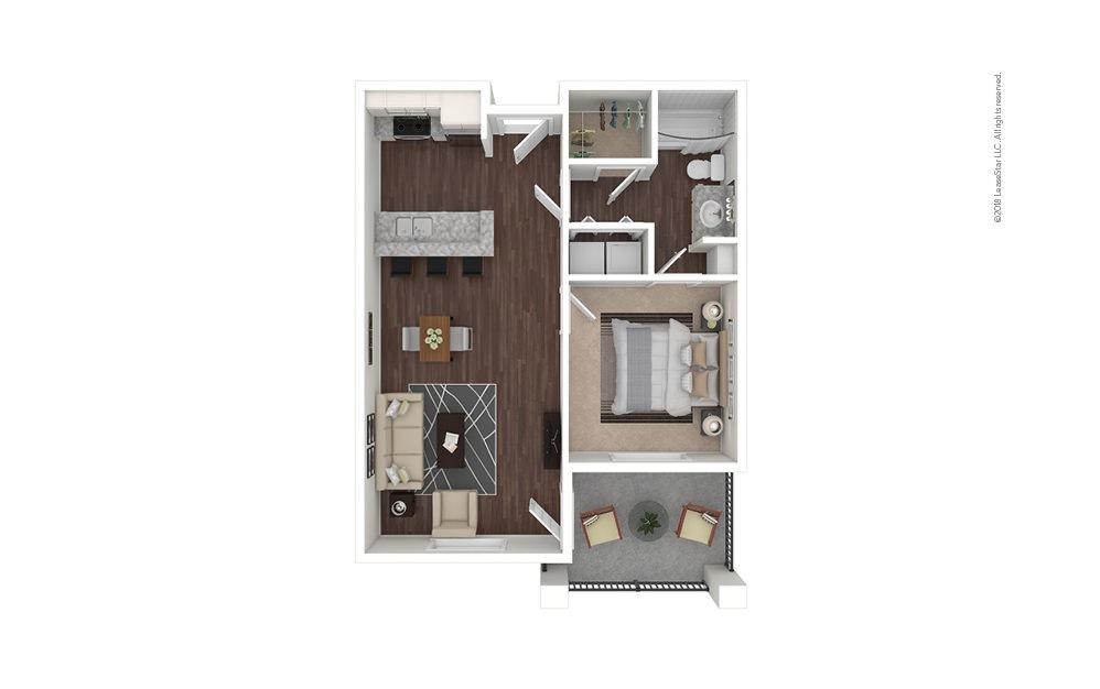 A2 1 bedroom 1 bath 697 square feet