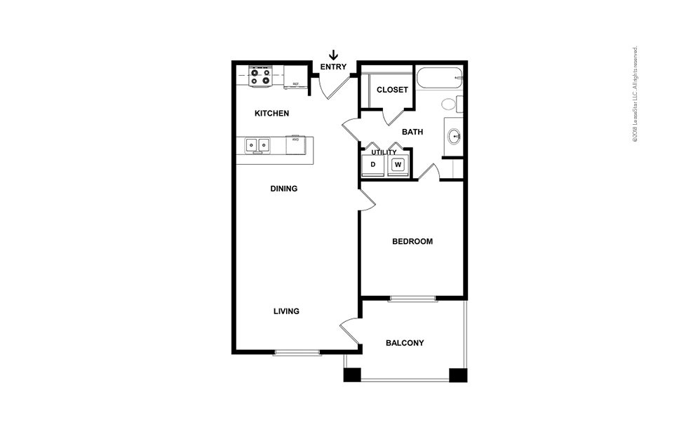A2 1 bedroom 1 bath 697 square feet (2)