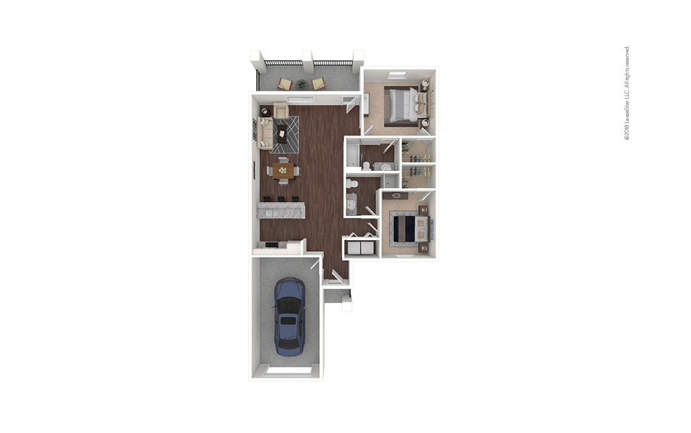 B2 2 bedroom 2 bath 1075 square feet