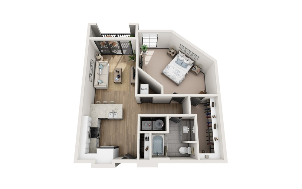 A2 1 bedroom 1 bath 834 square feet