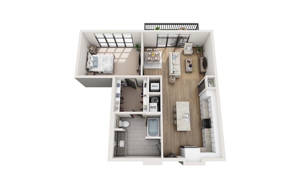 A6 1 bedroom 1 bath 925 square feet