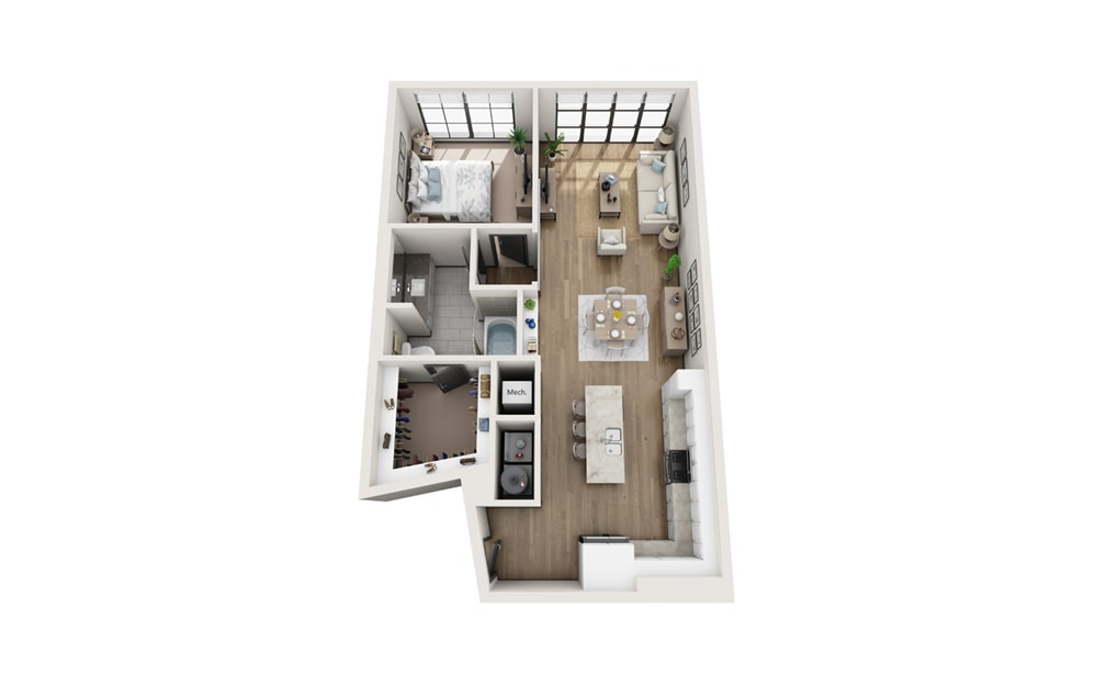 A7 1 bedroom 1 bath 930 square feet