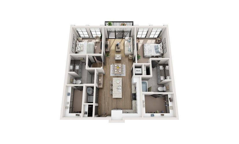 B1 2 bedroom 2 bath 1132 square feet