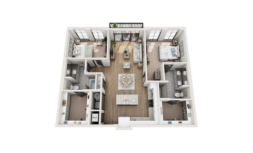B2 2 bedroom 2 bath 1301 square feet