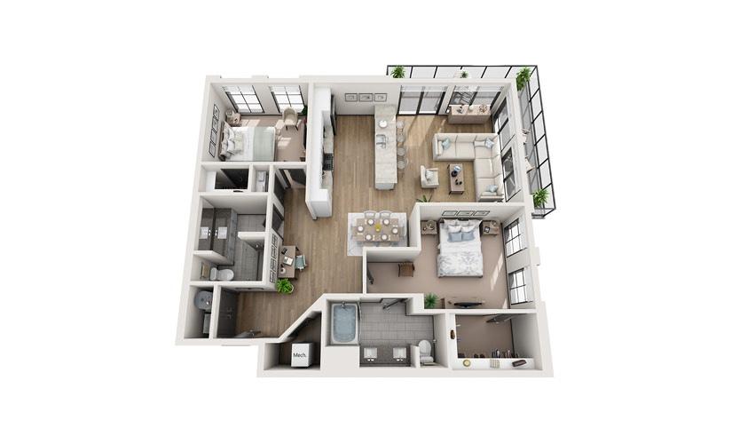 B3 2 bedroom 2 bath 1366 square feet