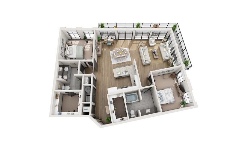B4 2 bedroom 2 bath 1473 square feet