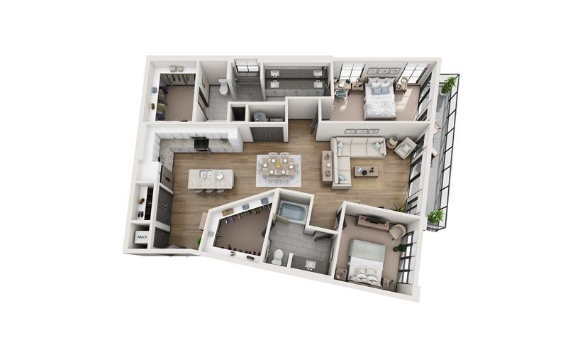 B5 2 bedroom 2 bath 1613 square feet