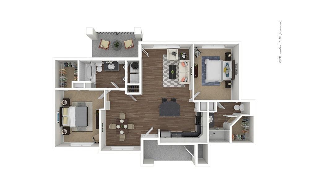 B1 2 bedroom 2 bath 1144 square feet