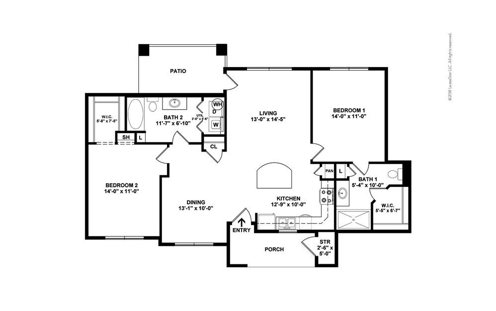 B1 2 bedroom 2 bath 1144 square feet (2)
