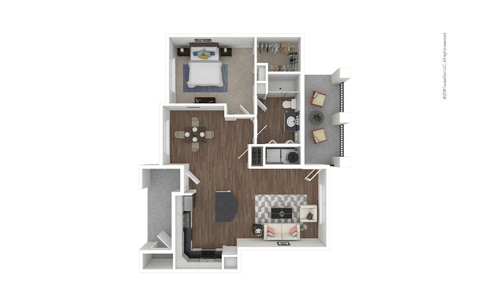A2 1 bedroom 1 bath 860 square feet