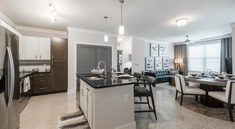 Expansive kitchen island at apartments for rent in Allen, TX