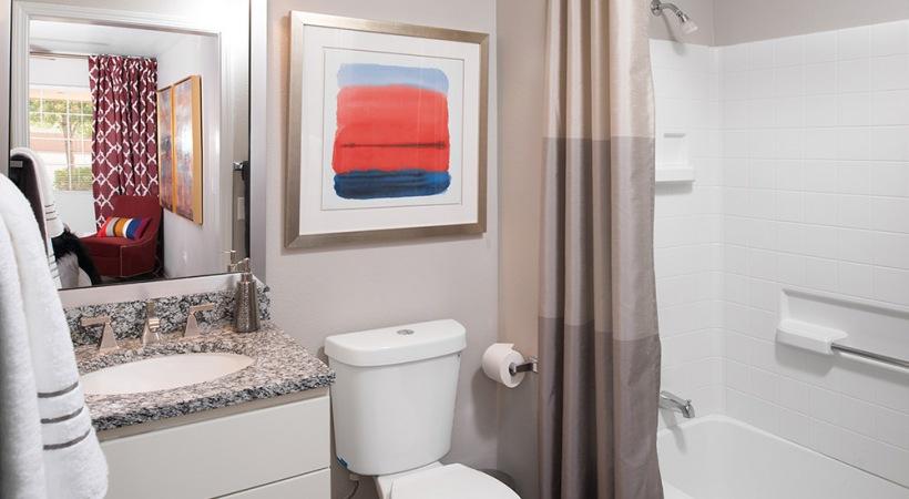 Sleek Granite Countertops in the Bathrooms