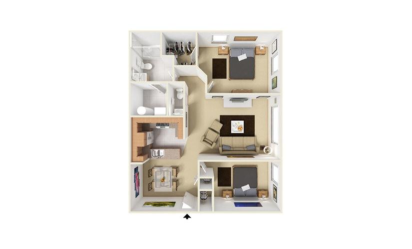Turnberry 2 bedroom 1.5 bath 987 square feet