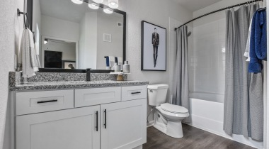 Bathroom sink at apartments for rent in Allen, TX