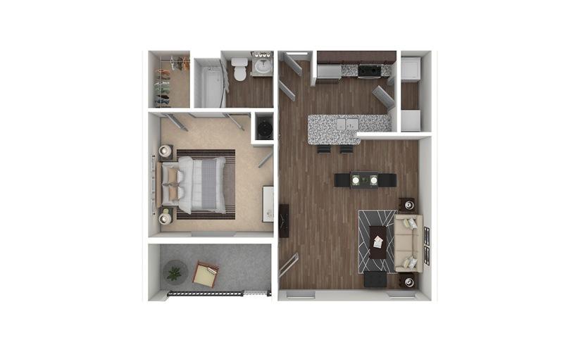 A1 1 bedroom 1 bath 667 square feet