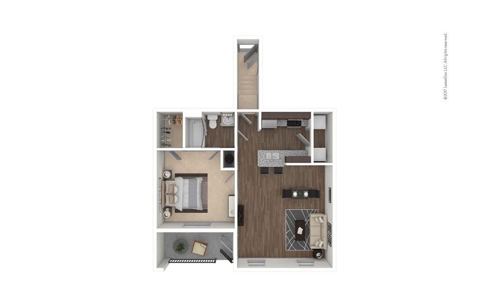 A1A 1 bedroom 1 bath 814 square feet