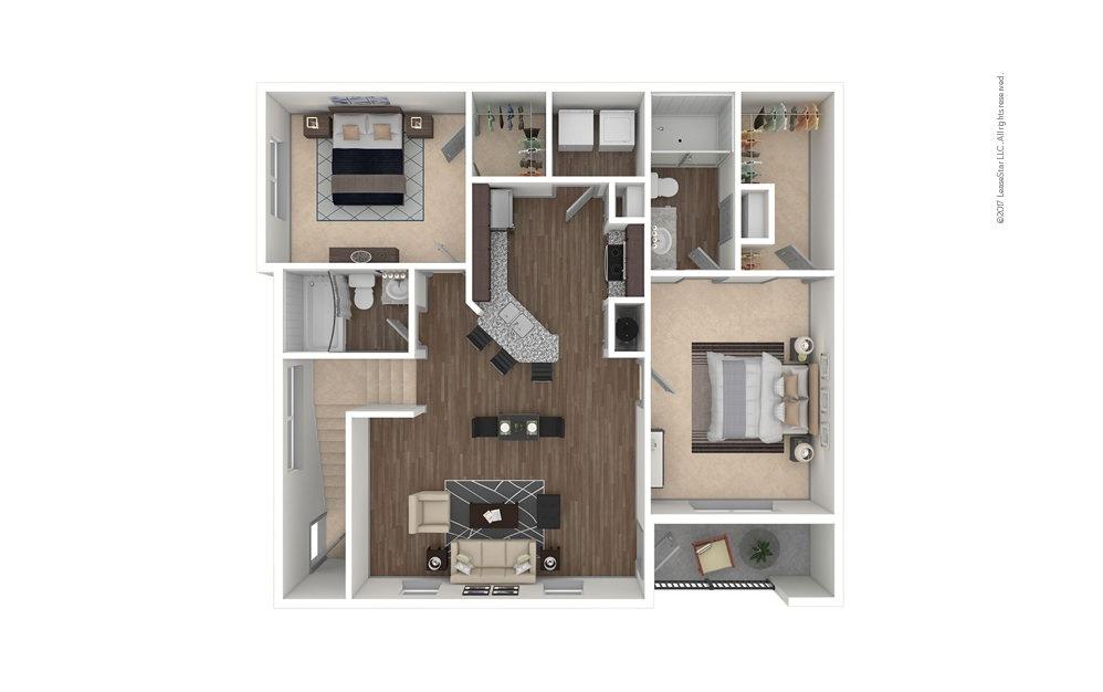 B1A 2 bedroom 2 bath 1149 square feet