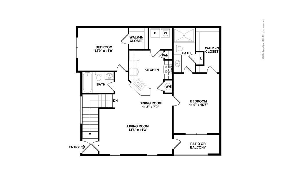 B1A 2 bedroom 2 bath 1149 square feet (2)