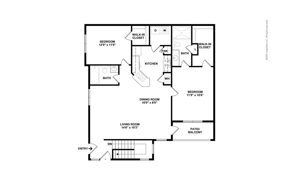 B2A 2 bedroom 2 bath 1244 square feet (2)
