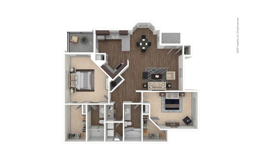 B3 2 bedroom 2 bath 1327 square feet