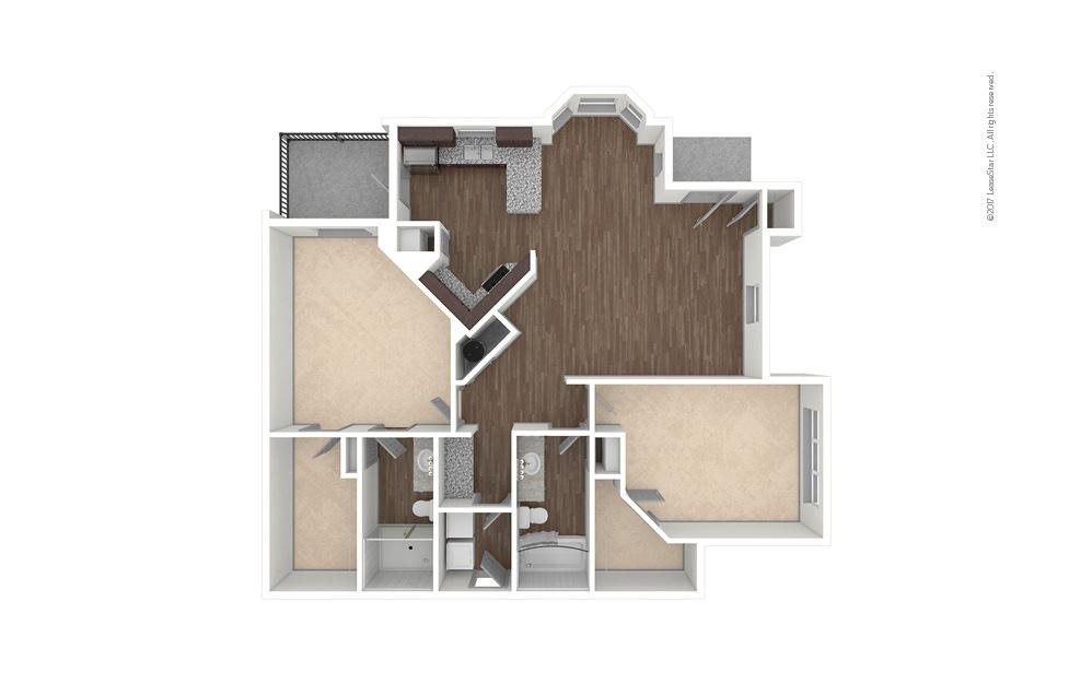 B3 2 bedroom 2 bath 1327 square feet (1)