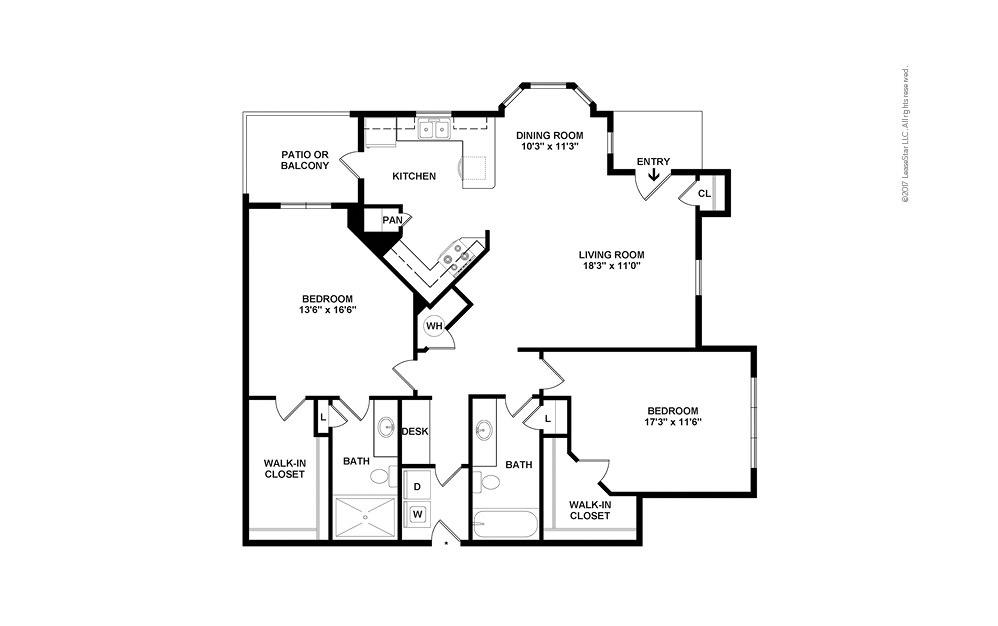 B3 2 bedroom 2 bath 1327 square feet (2)